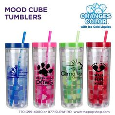 So what's your mood for today? Cool branded Mood Cube Tumblers.
