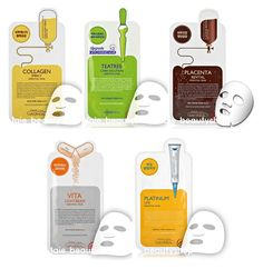 50Pcs MediHeal Essential Mask Pack Sheet_Collagen Teatree Placenta Vita platunum #Mediheal