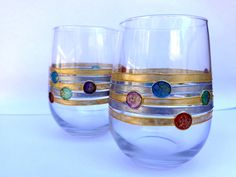 Wine/ water glasses. Set of 2. by OrdinaryWWonders on Etsy