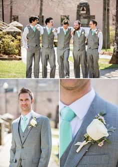 Here all have same color everything. Even grooms vest and suit are the same color and even all their ties are exact same.