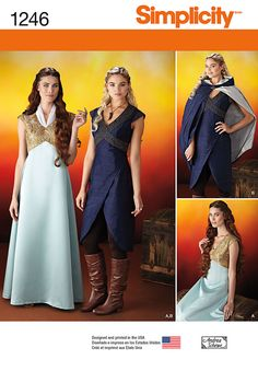 Simplicity Creative Group - Misses' Fantasy Costumes Game ofThrones no doubt but is 1930s evening gown style..didn't I see this in a bridal gown last summer from same co.?