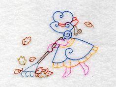 Fall Sunbonnet Colorlines Machine Embroidery Designs http://www.designsbysick.com/details/fallsbonnets
