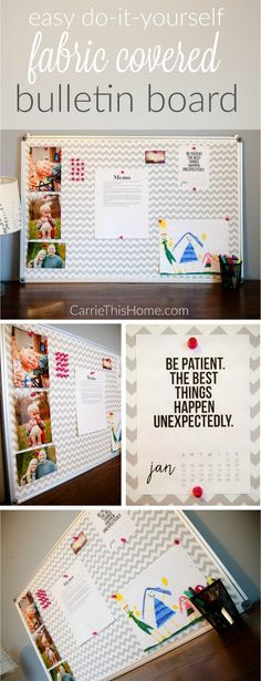 So easy,cheap & cute! Step by step directions make this a  simple & fun project for anyone!   DIY Fabric Covered Bulletin Board from CarrieThisHome.com