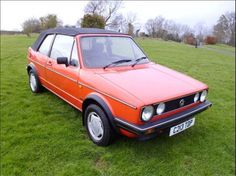 Mk 1 golf convertible reg 1986 and finnished in mars red with a black mohair roof, grey cloth interior and alloy wheels. The car has been dry stored for the last ten years (the previous owner has emigrated) and has just been recommissioned and serviced Volkswagen Golf Mk1, Veteran Car, Exotic Sports Cars, Grey Outfit, Automotive Art, Alloy Wheel, Vintage Cars, Race Cars, Convertible