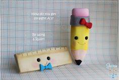 Pencil & ruler #cake #topper by Sugar High Inc.
