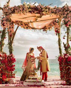 A perfect setting for a beach wedding. Get married in Goa, Bali, Thailand, Abu Dhabi and beach locations. For destination wedding… Indian Beach Wedding, Indian Destination Wedding, Goa Wedding, Outdoor Indian Wedding, Wedding Mandap, Indoor Wedding, Dream Wedding, Wedding Ideas, Indian Bridal