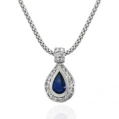 Pear Shape Sapphire & Round Diamond Pendant with Fope Chain