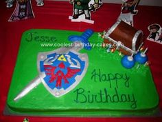Homemade Legend of Zelda Birthday Cake: My son has been having a great time playing Zelda games and he adamantly wanted a Little boy Zelda cake (For some reason he always calls Link little boy