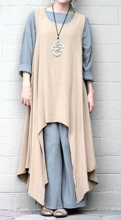 OH MY GAUZE Cotton Drip Hem  SIDEKICK TUNIC  Long Vest 1(M/L/XL) 2(1X/2X)  KHAKI #OHMYGAUZE #Tunic #Versatile