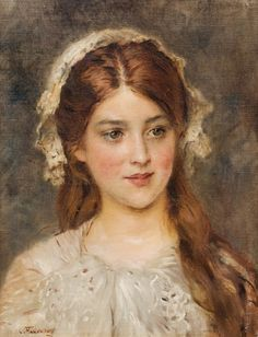 Portrait of a young girl. John William Godward, William Adolphe Bouguereau, Franz Xaver Winterhalter, Alfred Stevens, Pierre Auguste Renoir, Canvas Collage, Old Paintings, Russian Art, Aesthetic Art