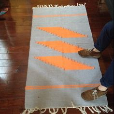 Orange & grey south west american rug