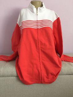 Erika 3X Woman Coral White Zip Front Jacket Sweatshirt Shirt Woman Nwt #Erika #TrackJacket