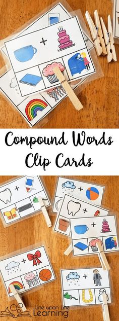 Compound Words Activities: Pre-Reading Skills We used clothes pins to clip the correct image on the bottom that is the compound word to match the two pictures on top that we sounded out. Language Activities, Reading Activities, Literacy Activities, Teaching Reading, Compound Word Activities, Kindergarten Literacy, Early Literacy, Reading Centers, Reading Skills