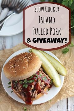Easy crock-pot dinner recipe - incredibly delicious pulled pork sandwiches - with tips for healthier pulled pork! Plus … GIVEAWAYS! Enter to win a slow cooker, cookbooks and more (thru 9/30)!
