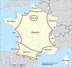 Carte de France vue par les Parisiens. CartesFrance.fr