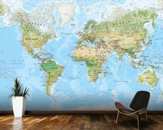 World map temporary wall mural political map removable wallpaper world wall map environmental mural wallpaper room setting gumiabroncs Image collections