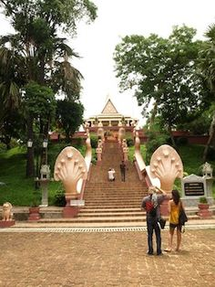 Buddhist Temple Wat Phnom, Phnom Penh, Cambodia. Built in 1373, it is the tallest religious structure in the city.