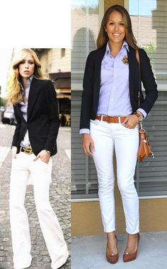 Breaking Rules: White After Labor Day. Add a black blazer and a button down for fall-time white.