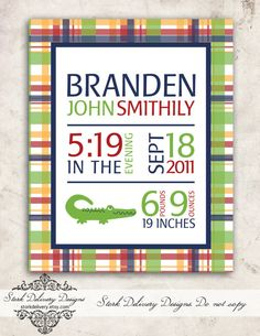 Alligator Baby Boy Nursery Wall Art - Pottery Barn Kids Madras Collection - DIY Printable via Etsy