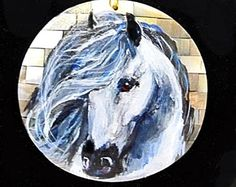 Andalusian horse art handpainted necklace on a mother of pearl