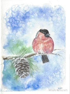 Red bullfinch, red bird winter snow Christmas New Year #christmascards, #watercolorcard, #handmadecard, #christmasgift, #newyear2018, #xmascards, #uniquecards, #originalwatercolor, #watercolour, #painting, #winterpicture, #winterpainting, #christmasball, #christmasdecor, #christmasmood, #giftsideas, #christmasgifts, #cards