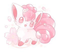 Extremely Cute Vulpix - Back Pokemon Fan Art, Pixel Pokemon, Cute Animal Drawings Kawaii, Kawaii Art, Cute Drawings, Anime Chibi, Pokemon Backgrounds, Cute Pokemon Pictures, Pokemon Eeveelutions