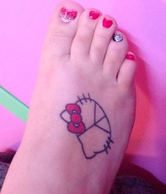My hello kitty peace sign tattoo:) I want to get cheetah print added around it going up my leg!