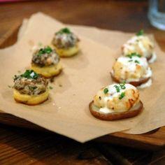 twice-baked potatoes and mushroom ragu on lemon polenta??