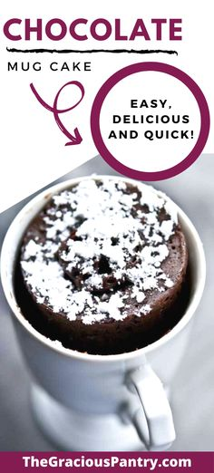 This chocolate mug cake is the perfect dessert for one or two people. No leftovers calling you to the fridge! Clean Eating Grocery List, Clean Eating Recipes For Weight Loss, Clean Eating Recipes For Dinner, Clean Eating Desserts, Clean Eating Breakfast, Clean Eating Meal Plan, Real Food Recipes, Cake Recipes, Dessert Recipes