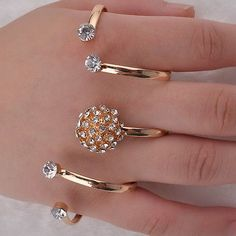 Great Crystal Palm Ring Bracelet Hand Cuff Adjustable Handlet Gold Plated