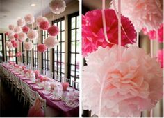 Pompoms from the rafters RESERVED  6 poms   Large2 Medium2 Small 2 wedding decor by PomGLOW, $24.00