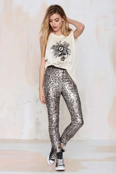 Nasty Gal Boogie Nights Sequin Leggings - Pants | Clothes |  | Pants | Newly Added | Pants