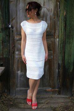 Snow white cotton dress Handknitted dress от JuliasFineKnits