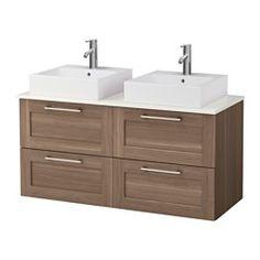 "IKEA - GODMORGON/ALDERN / TÖRNVIKEN, Vanity, countertop and 17 3/4"" sink, walnut effect, white, ,…"