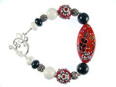 Floral Lampwork Bracelet Glass Bead Bracelet by JadjusJewelry, $140.00