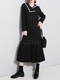 Sailor Collar Fishtail Pleated Windbreaker – uoozee Long Shirt Dress, Blouse Dress, High Neck Dress, Stand Collar Shirt, Sailor Collar, Cotton Style, Fishtail, Going Out, Windbreaker