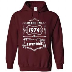 Made In 1974 - 2016 Version - #tshirt makeover #cute sweater. TRY => https://www.sunfrog.com/Birth-Years/Made-In-1974--2016-Version-9253-Maroon-41155751-Hoodie.html?68278