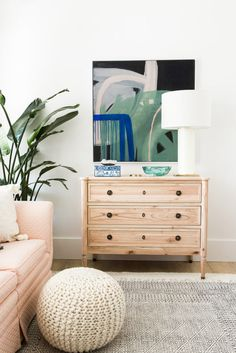 Stunning boho, tropical office and sitting room space! Love the One Room Challenge reveal day!