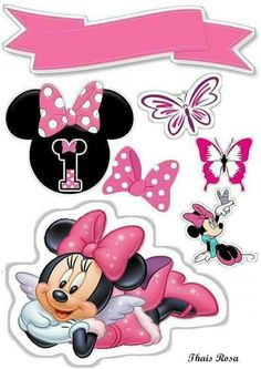Topo 1 ano Minnie Mouse Cupcake Toppers, Minnie Mouse Birthday Decorations, Princess Cake Toppers, Minnie Cake, Minnie Mouse Theme, Mickey Mouse Birthday, Mickey Mouse Y Amigos, Mickey Mouse And Friends, Minnie Mouse Pictures