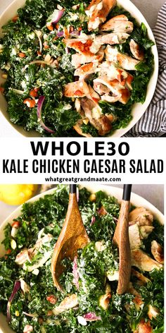 You'll love this low carb and Whole30 kale chicken Caesar salad with massaged kale, toasted almonds, perfectly cooked chicken, all covered in the best Whole30 Caesar dressing! #whole30salad #caesarsalad #glutenfree #paleo #paleosalads #30minutemeals #whole30dressing #CookingFood