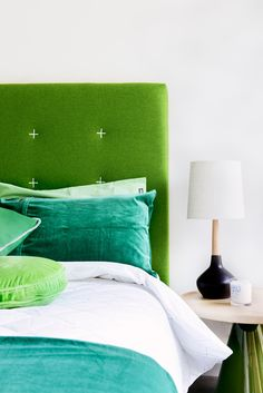 "Architect [Scott Weston](http://www.swad.com.au/?utm_campaign=supplier/|target=""_blank"") made a brave style statement by opting for a green bedhead and bed linen in this [vibrant terrace renovation](http://www.homestolove.com.au/a-character-filled-terrace-by-scott-weston-1880