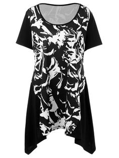 Plus Size Abstract Pattern Asymmetrical Longline T-Shirt in White And Black | Sammydress.com