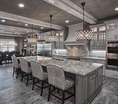 Kitchen Interior Remodeling Grey kitchen More - Elegant Kitchens, Luxury Kitchens, Beautiful Kitchens, Cool Kitchens, Grey Kitchens, Luxury Kitchen Design, House Kitchen Design, Grey Kitchen Designs, Cottage Kitchens