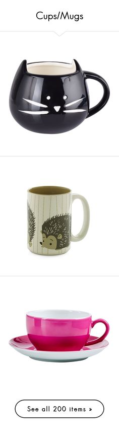"""Cups/Mugs"" by meranda-wilkes ❤ liked on Polyvore featuring home, kitchen & dining, drinkware, accessories, black and white coffee mugs, everyday glassware, cat mug, christmas coffee mugs, everyday drinkware and mugs"
