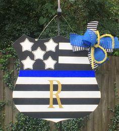 Police Badge Door Hanger, Police Officer Door Hanger, Law Enforcement, First…