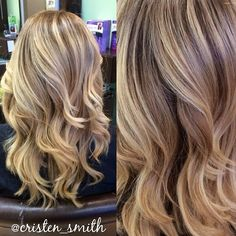 One of my favorite color creations so far! Added in soft, blonde balayage highlights to lighten up all over and darken up the base which helped to create a nice contrast! Finished with a haircut and beach waves, perfect look for summer! ☀️ #beautybycristen