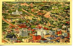 Aerial photo and hand-tinted view of downtown Salt Lake City.. looking northeast.