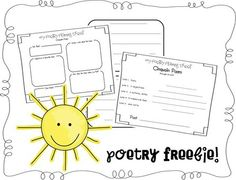 FREE poetry printable (plant-theme).  Cinquain poems.  Recommended for 1st grade (but challenging).
