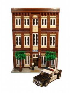 Police Station :: My LEGO creations. Modular Police Station with four seater six stud wide police car. Legos, Lego Moc, Lego Police, Brick In The Wall, Lego Modular, Cool Lego Creations, Lego Worlds, Lego Architecture, Toys