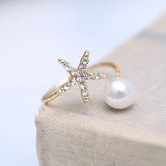Estrellas de mar joyería de moda anillos de perlas de imitación de oro joyería de las mujeres anillo Abierto cuff Anillo Animal Estrella Rhinestone Cristalino Ajustable